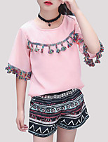Недорогие -Девочки Повседневные На выход С принтом Набор одежды, Полиэстер Лето С короткими рукавами Активный Белый Розовый