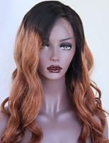 Недорогие -Remy Парик Бразильские волосы Волнистый 130% плотность С детскими волосами Природные волосы Волосы с окрашиванием омбре Коричневый