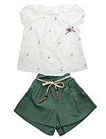 Недорогие -Дети Девочки Однотонный С короткими рукавами Набор одежды