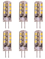cheap -WeiXuan 6pcs 2W 160lm lm G4 LED Bi-pin Lights T 24pcs leds SMD 2835 Warm White Cold White DC 12V
