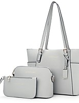 cheap -Women's Bags Leather Bag Set 3 Pcs Purse Set Zipper for Office & Career Black / Blushing Pink / Light Grey