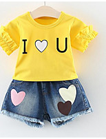 cheap -Girls' Daily Solid Colored Clothing Set, Polyester Spring Summer Short Sleeves Street chic Red Blushing Pink Yellow