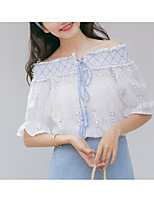 cheap -Women's Holiday Cute Cotton T-shirt - Solid Colored Bow Off Shoulder