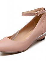 Недорогие -Жен. Обувь Дерматин Весна / Осень Удобная обувь / Оригинальная обувь Обувь на каблуках На толстом каблуке Круглый носок Пряжки Бежевый /