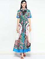 Недорогие -Жен. Очаровательный Богемный С летящей юбкой Платье - Цветочный принт Макси