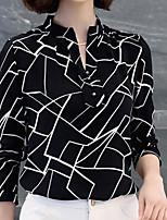 baratos -Mulheres Blusa Negócio Estampa Colorida