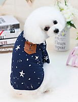 cheap -Dogs Cats Furry Small Pets Pets Shirt / T-Shirt Dog Clothes Dots Letter & Number Stars Dark Blue Gray Cotton / Polyester Costume For Pets