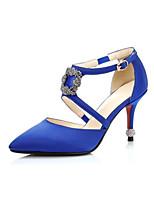 abordables -Femme Chaussures Polyuréthane Printemps / Eté Confort Chaussures à Talons Talon Aiguille Bout pointu Strass Noir / Gris / Bleu