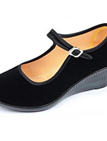cheap -Women's Shoes Flocking Spring / Fall Comfort Heels Wedge Heel Black