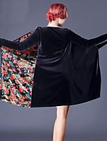 abordables -Danse latine Robes Femme Utilisation Mousseline de Soie Velours Motif / Impression Bandeau Ruché Manches Longues Robe