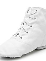 cheap -Men's Jazz Shoes Canvas Flat / Sneaker Indoor Splicing Flat Heel Customizable Dance Shoes White