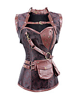 cheap -Steampunk Costume Women's Corset Red Vintage Cosplay Polyster Sleeveless