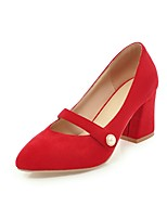 cheap -Women's Shoes Nubuck leather Spring / Fall Basic Pump Heels Chunky Heel Pointed Toe Beige / Red / Pink / Party & Evening