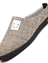 Недорогие -Муж. обувь Лён Весна Лето Удобная обувь Мокасины и Свитер для Повседневные на открытом воздухе Черный Бежевый Хаки