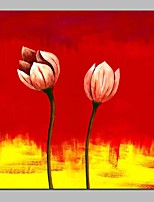 preiswerte -Hang-Ölgemälde Handgemalte - Abstrakt Blumenmuster / Botanisch Klassisch Segeltuch