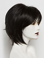 abordables -Perruques capless à cheveux humains Cheveux humains Droit Coupe Carré Ligne de Cheveux Naturelle Nature Noir Fabriqué à la machine