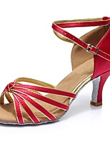 abordables -Mujer Zapatos de Baile Latino Satén Sandalia / Tacones Alto Corte Tacón Personalizado Personalizables Zapatos de baile Rojo Oscuro