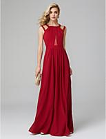 preiswerte -A-Linie Schmuck Boden-Länge Chiffon Abiball / Formeller Abend Kleid mit Plissee durch TS Couture®