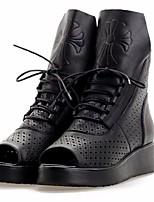 baratos -Mulheres Sapatos Pele Pele Napa Primavera Outono Gladiador Botas Salto Plataforma Peep Toe para Preto
