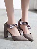 abordables -Mujer Zapatos Cuero Nobuck Primavera / Otoño Confort / Pump Básico Tacones Tacón Cuadrado Negro / Gris oscuro / Rojo
