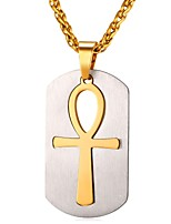 cheap -Men's Women's Cross Stainless Steel Pendant Necklace  -  Fashion Gold Black 55cm Necklace For Daily
