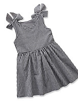 cheap -Girl's Daily Going out Check Dress, Cotton Polyester Summer Sleeveless Cute Active Gray