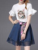 abordables -Mujer Activo Manga de la llamarada Camisa - Geométrico, Lazo Malla Estampado Retazos Falda
