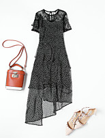 cheap -MMLJ Women's Street chic Chiffon Dress - Polka Dot, Lace Print Patchwork