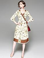 cheap -EWUS Women's Basic Flare Sleeve Swing Dress - Geometric, Print