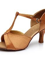 baratos -Mulheres Sapatos de Dança Latina Cetim Sandália / Salto Recortes Salto Alto Magro Personalizável Sapatos de Dança Marron