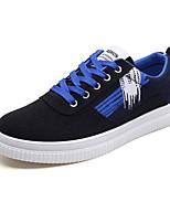 abordables -Femme Chaussures Tissu Printemps Automne Confort Basket Talon Plat Bout rond pour Noir / Rouge Noir / bleu.