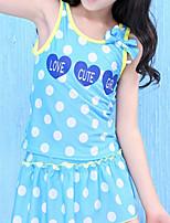 cheap -Girls' Cute Polka Dot Swimwear, Polyester Sleeveless Blue