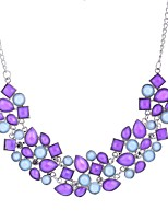 cheap -Women's Flower Pendant Necklace Statement Necklace  -  Floral Sweet Light Purple Turquoise 50cm Necklace For Wedding Party / Evening
