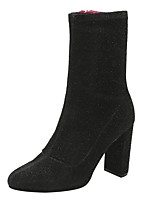 baratos -Mulheres Sapatos Micofibra Sintética PU Primavera Outono Botas da Moda Conforto Botas Salto Robusto Dedo Fechado Botas Cano Médio para