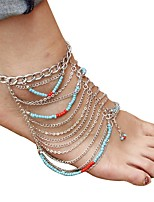 cheap -Bohemian Turquoise Anklet - Women's Silver Vintage Bohemian Circle Acrylic Alloy Anklet For Gift Daily