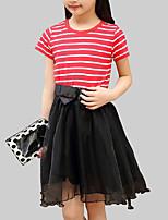 abordables -Robe Fille de Quotidien Rayé Mosaïque Rayonne Polyester Eté Manches Courtes Mignon Rouge Marine