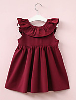 cheap -Girl's Daily Solid Colored Dress, Polyester Summer Sleeveless Street chic Blushing Pink Wine