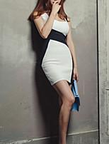 baratos -Mulheres Para Noite Sofisticado Luva Lantern Algodão Skinny Tubinho Vestido - Estampado, Estampa Colorida Decote em V Profundo Mini