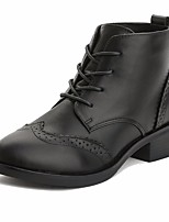 cheap -Women's Shoes Cowhide Nappa Leather Fall Winter Combat Boots Boots Chunky Heel Booties / Ankle Boots for Black