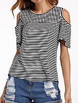cheap -Women's Holiday Basic T-shirt - Striped, Patchwork