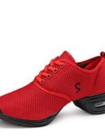cheap -Women's Dance Sneakers Tulle Sneaker Outdoor Low Heel White Black Red 1 - 1 3/4inch Customizable