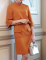 Недорогие -Жен. Простой Винтаж Блуза Платья - Кружева Плиссировка, Сплошной цвет