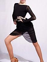 abordables -Danse latine Robes Fille Utilisation Spandex Chinlon Ruché Manches Longues Robe