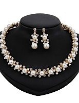 cheap -Women's Imitation Pearl Gold Plated Floral Jewelry Set 1 Necklace Earrings - Floral Simple Fashion Gold Jewelry Set Bridal Jewelry Sets
