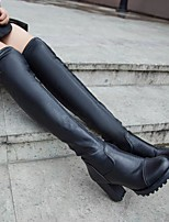 cheap -Women's Shoes PU Fall Winter Fashion Boots Boots Chunky Heel Round Toe Over The Knee Boots for Black