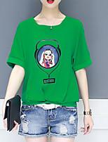 preiswerte -Damen Porträt - Grundlegend T-shirt Spitze Ausgehöhlt
