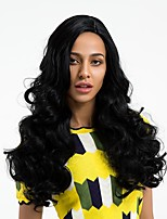 cheap -Synthetic Wig Wavy Side Part Natural Hairline Black Women's Capless Natural Wigs Long Synthetic Hair Daily