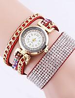 baratos -Mulheres Quartzo Bracele Relógio Relógio de Moda Relógio Casual Chinês imitação de diamante Relógio Casual PU Banda Casual Fashion Preta