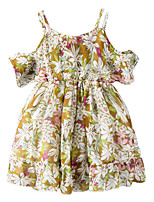 cheap -Girl's Daily Holiday Floral Dress, Cotton Polyester Summer Short Sleeves Cute Active Yellow