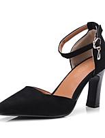 abordables -Femme Chaussures Cuir Nubuck Printemps / Automne Confort Chaussures à Talons Talon Bottier Bout rond Boucle Noir / Beige / Rose